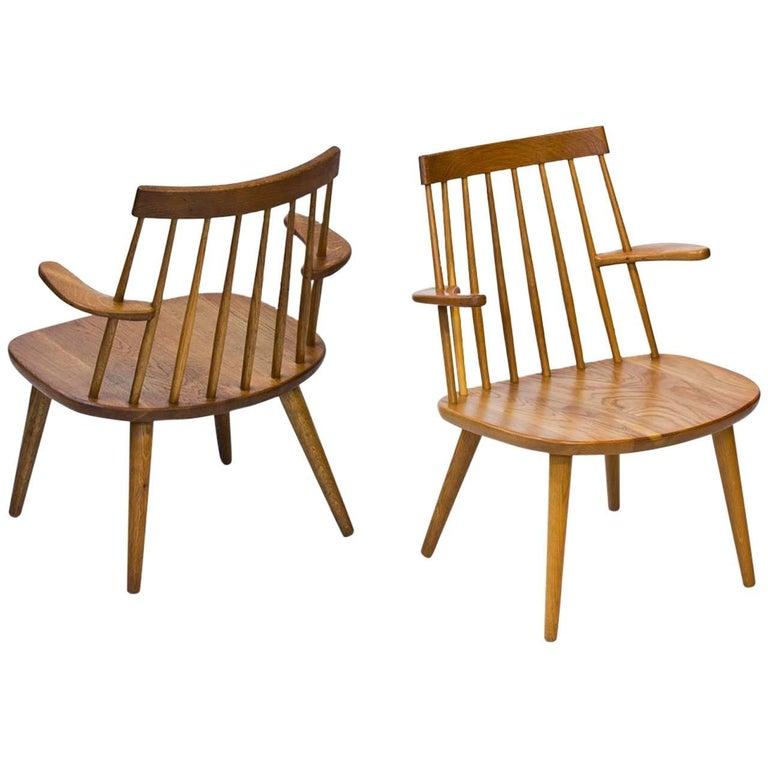 """Pair of """"Sibbo"""" Armchairs in Oak by Yngve Ekström, Sweden, 1960s"""