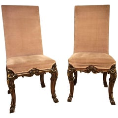 Good Pair of Walnut and Parcel-Gilt George I Style Hall Chairs