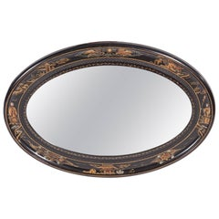 Antique Oval Chinoiserie Lacquered Decorated Wall Mirror
