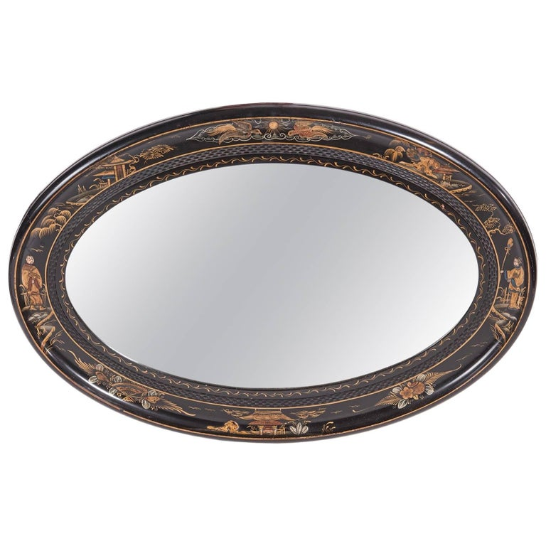 Antique Oval Chinoiserie Lacquered Decorated Wall Mirror For Sale