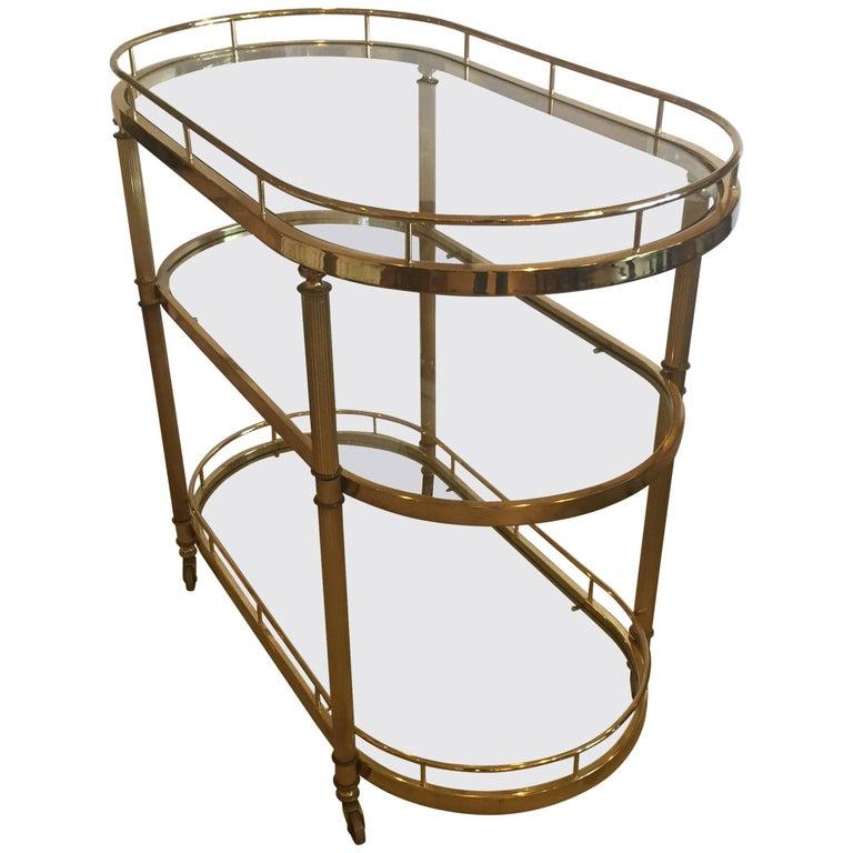 Elegant Mid-Century Modern Fluted Brass Three-Tier Oval Bar Cart