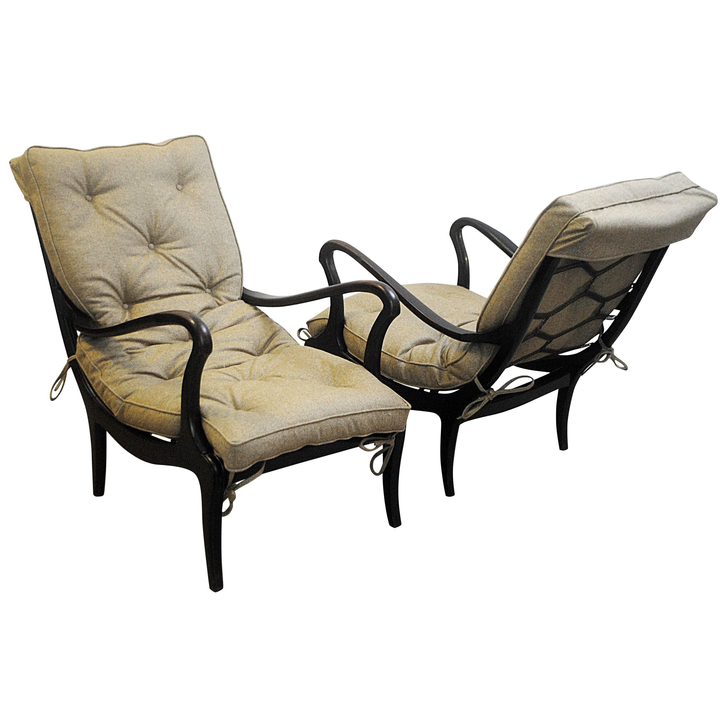 Pair of Two Lounge Chairs by Ezio Longhi 1950s, New Upholstery