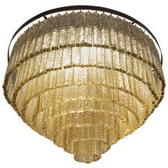 Round Nine Tiers Chandelier, 380 Murano Fume' Glass, 1990s, Metal Ring