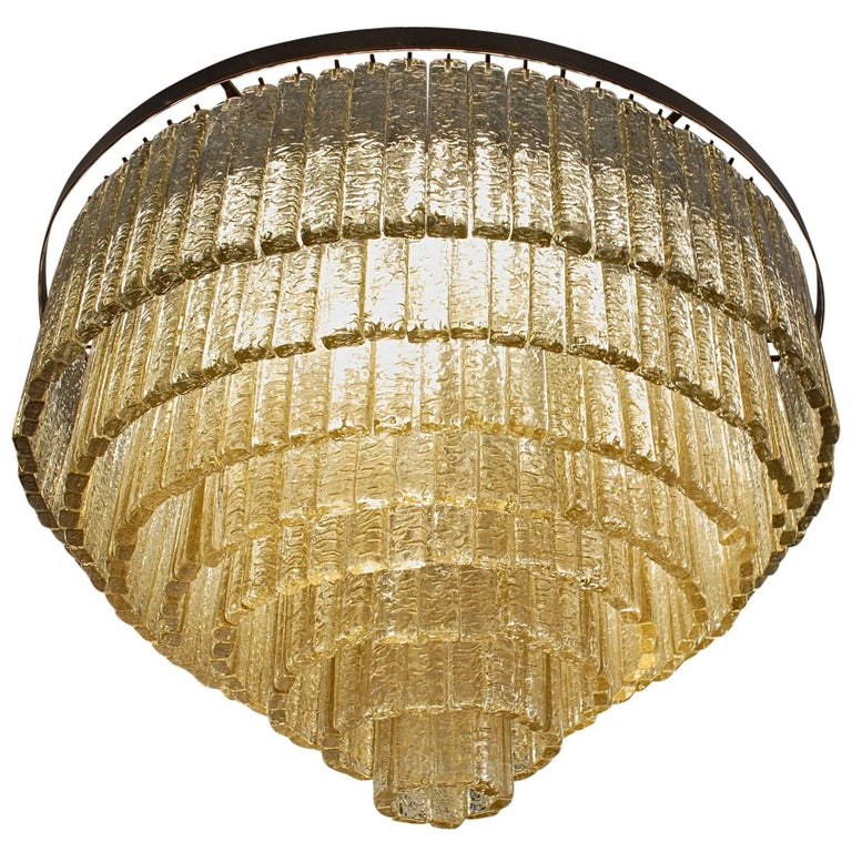 Round Nine Tiers Chandelier, 380 Murano Fume' Glass, 1990s, Metal Ring For Sale
