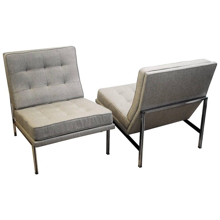 Pair of Lounge Chairs by Florence Knoll for Knoll, 1960s, New Upholstery