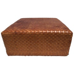Beautiful Woven Leather Ottoman or Coffee Table