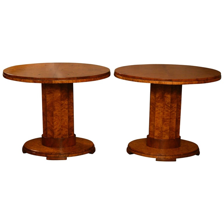 Pair of Period Art Deco Burr Myrtle and Root Maple Oval Centre Tables For Sale