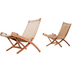 Folding Chair, Hans J. Wegner Style, Wood and Rope Covering, circa 1960