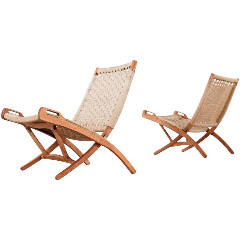 Folding Chair Hans J Wegner Style Wood And Rope Covering Circa 1960