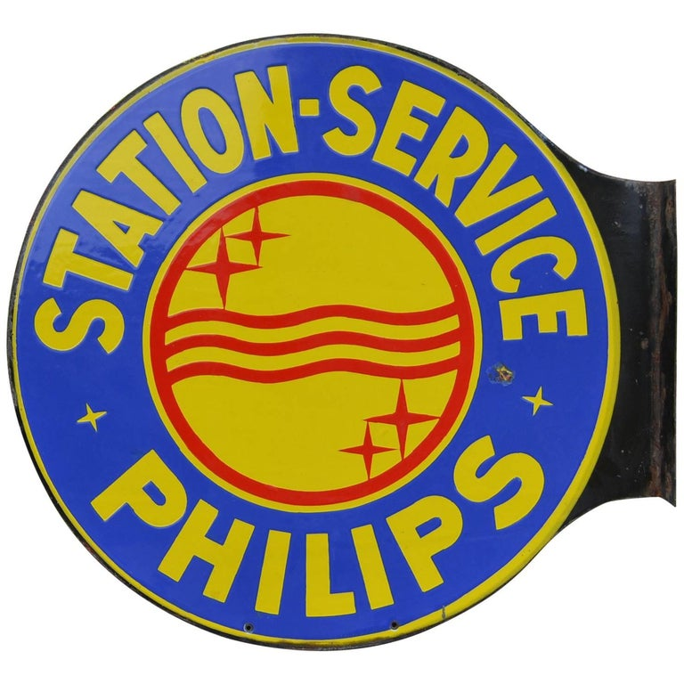 1950s Enamel Two-Sided Publicity Sign Philips Service-Station