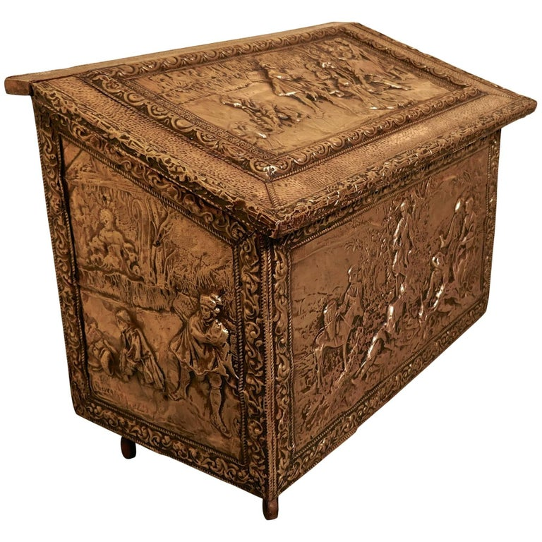 Large Embossed Brass Log Box with Country Scenes