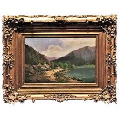 Poldine Schmidt-Chwala, Austrian Mountain Village Landscape, O/C, 19th Century