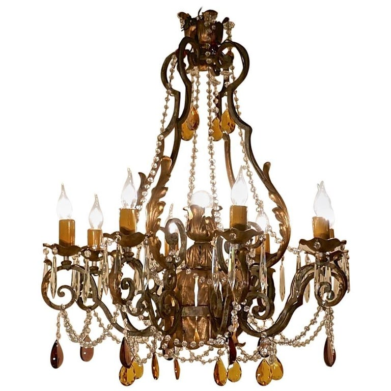 Very Large French Wrought Iron and Gilt Eight Branch Chandelier