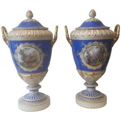 Large Pair of 19th Century Berlin Vases and Lids