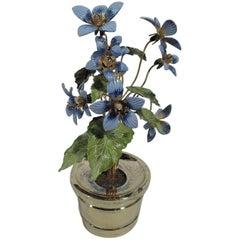 Gorham Gilt and Enameled Sterling Silver Flowerpot