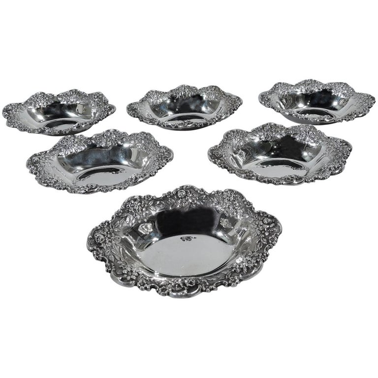 Set of Six Kirk Sterling Silver Nut Dishes For Sale