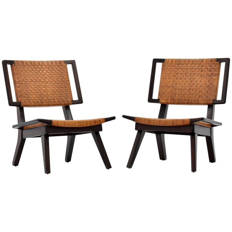 Paul László Style Lounge Chairs, Woven Rattan, Dark Wood, California 1950s For Sale