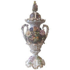 Large 19th Century Flower Encrusted Vase and Cover