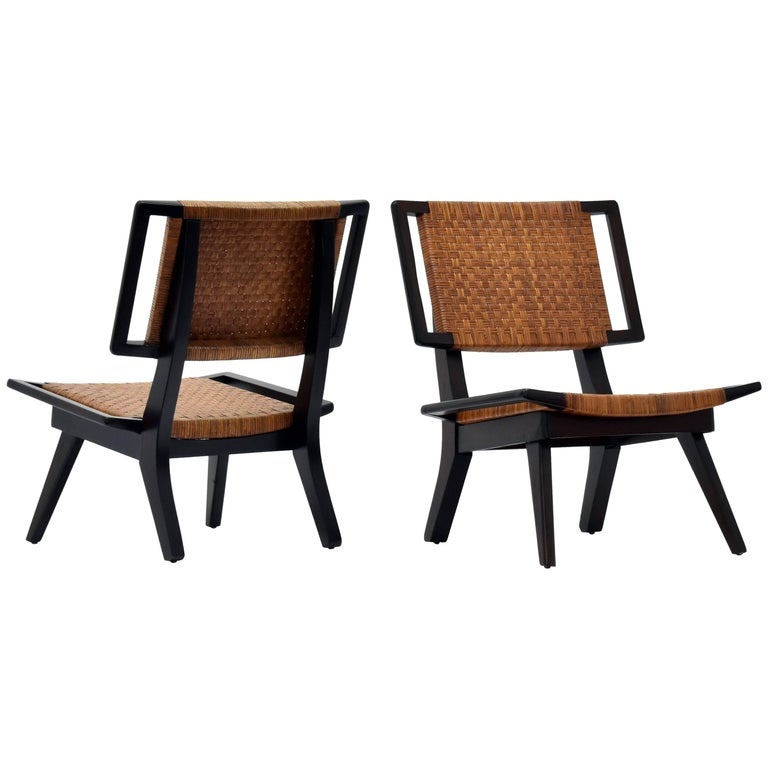 Paul László Style Lounge Chairs, Woven Rattan, Dark Wood, California, 1950s For Sale