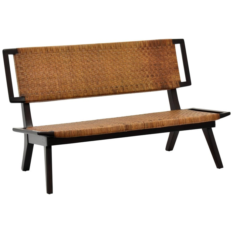 Paul László Style Settee / Bench, Woven Rattan, Dark Wood, California, 1950s