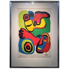 "Karel Appel Signed Artist Edition Swirls of Color ""Two Faces"""