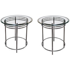 Midcentury Chrome and Glass Side Tables 'Pair'