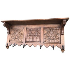 Hand-Carved Gothic Revival Coat Rack with Iron Hooks & Church Window Panels