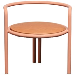Contemporary Maestro Chair in Pink Lacquered Steel with Tan Leather Upholstery