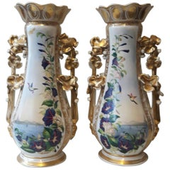Large Pair of 19th Century Paris Vases