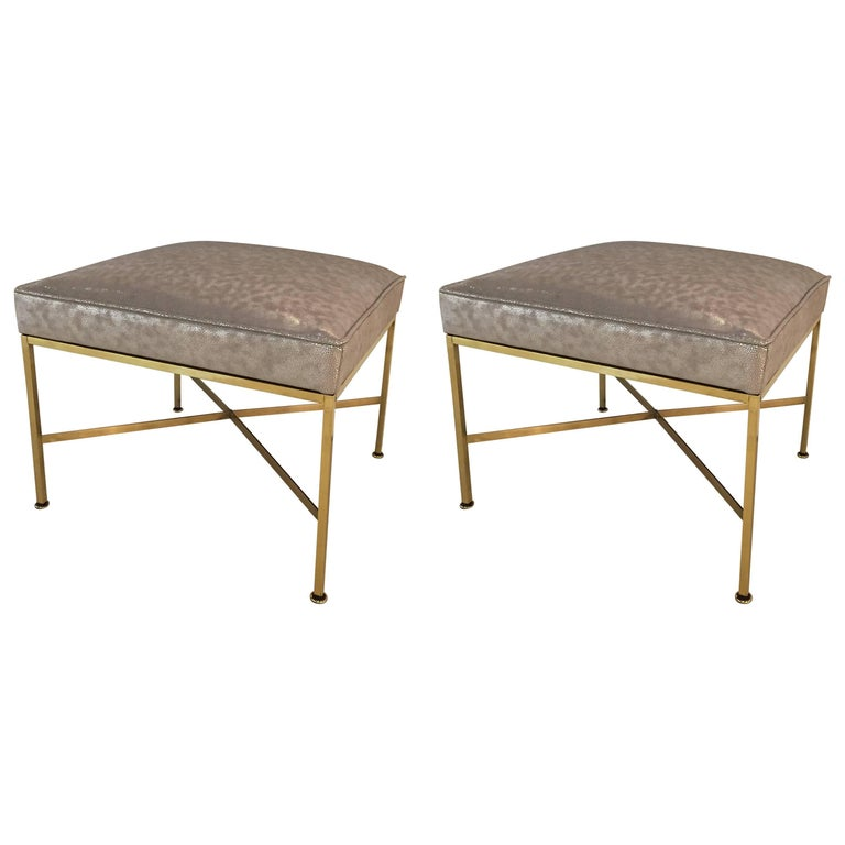 Pair of Paul McCobb Brass Stools Silver Shagreen Leather