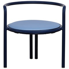 Contemporary Maestro Chair in Blue Lacquered Steel with Blue Leather Upholstery