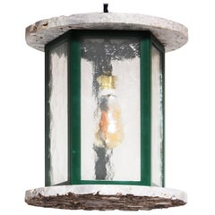Modern Chochin Hanging Lamp in Green Lacquered Steel, Hammered Glass, and Marble