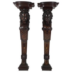 American Renaissance Revival Finely Carved and Gilt-Incised Walnut Wall Brackets