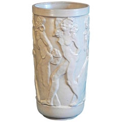 """Nude African Frieze,"" Exceptional Art Deco Sculptural Vase by Ebeling, Sweden"