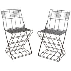 Set of Two Metal Wired Italian Chair, 1980s
