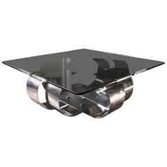 François Monnet Polished Steel and Smoked Glass Coffee Table