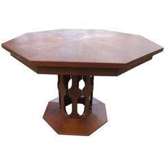 Harvey Probber Style Walnut Octagon Extension Table 2 Leaves Mid-Century Modern