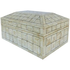 Tesselated Bone Coffered Wood Hinged Box