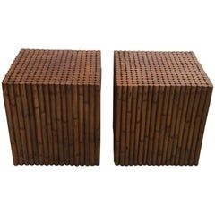 Pair of Rattan End Tables, 1980s