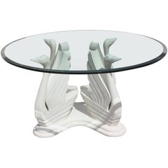 Mid-Century Modern Wood Swan Ivory Finish Round Dining Table Glass Top
