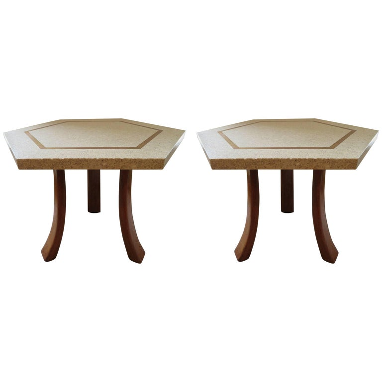 Stunning Pair of Harvey Probber Brass Inlaid Terrazzo Top Side Tables Midcentury