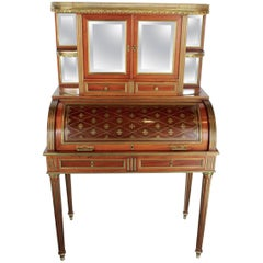 "French 19th Century Mahogany Veneer and Brass inlaid ""Bureau a Cylindre"""