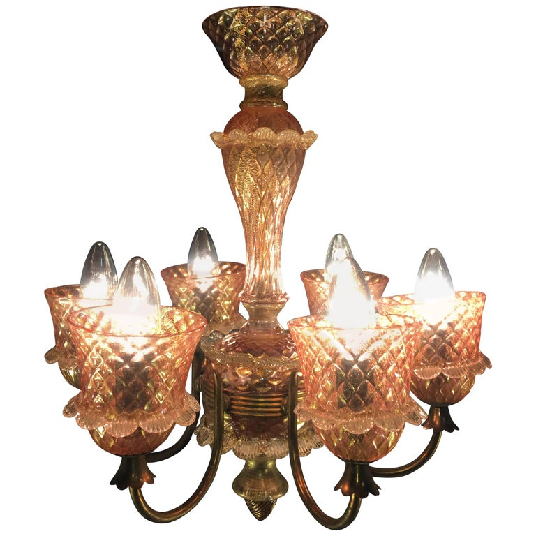 Pink and Gold Chandelier by Barovier & Toso, Murano, 1950