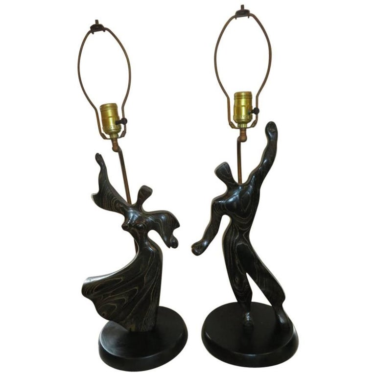 Lovely Pair of Modernist Cerused Oak Heifetz Dancer Male Female Lamps