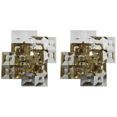Pair of Kinkeldey Sconces Brass and Crystal