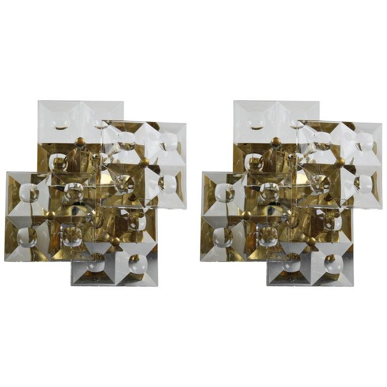 Pair of Kinkeldey Sconces Brass and Crystal