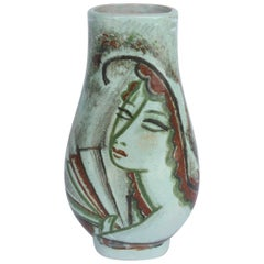 René Buthaud, Ceramic Vase of Woman with Fan, circa 1920s