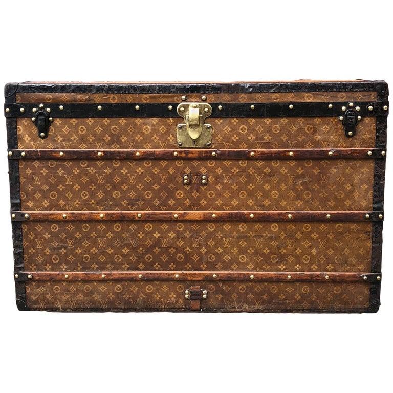 6599620bdbcd Antique Vintage Louis Vuitton Woven Monogram Steamer Trunk