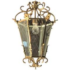 Delicious Midcentury Italian Brass Lantern, 1950s