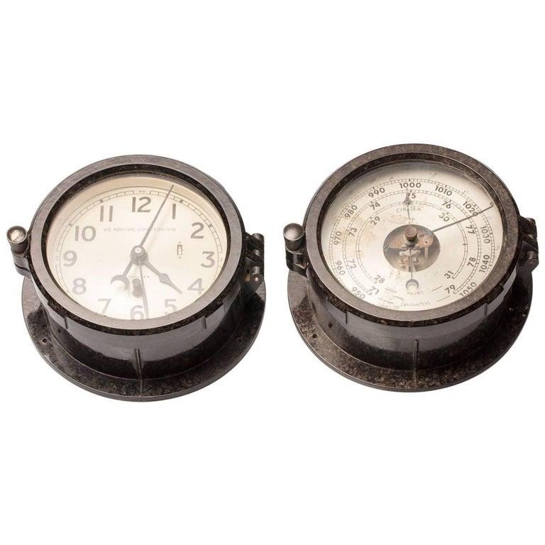 Pair of Mid-Century Modern, Naval Chelsea Clock and Barometer